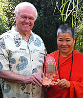 Bill Levacy, President of the American College of Vedic Astrology� presents the 2010 ACVA Jyotish Navaratna Award to Swami Sita in Los Angeles, California on December 11, 2010.